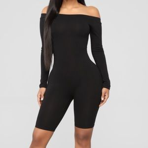 Black off the shoulder knee length body suit